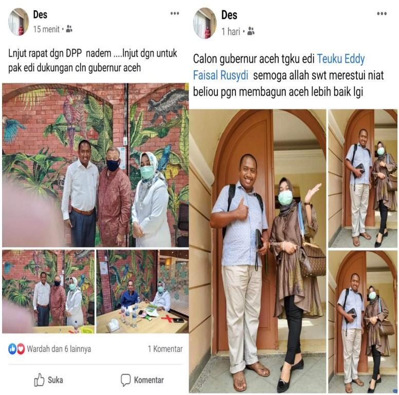 Sreenshoot status Facebook Rizayati yang mengusung Teuku Eddy Faisal Rusydi, sebagai balon Gubernur Aceh dari Partai Nasdem