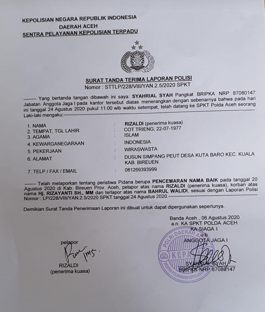 Surat Tanda Terima Laporan Polisi yang beredar luas di media sosial.